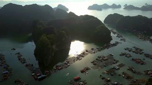 Wonderful Aerial View Floating Village Under Morning Sunlight