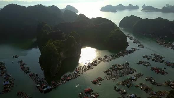 Thumbnail for Wonderful Aerial View Floating Village Under Morning Sunlight