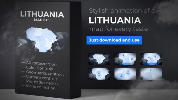 Thumbnail for Lithuania Map - Republic of Lithuania Map Kit