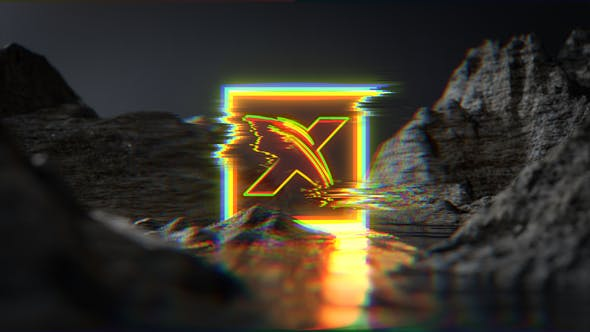 Thumbnail for Neon Glitch Water Terrain Logo