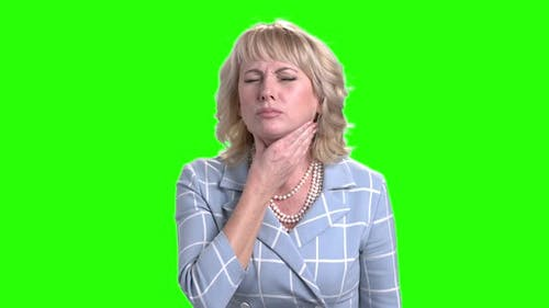 Elegant Woman Suffering From Sore Throat.