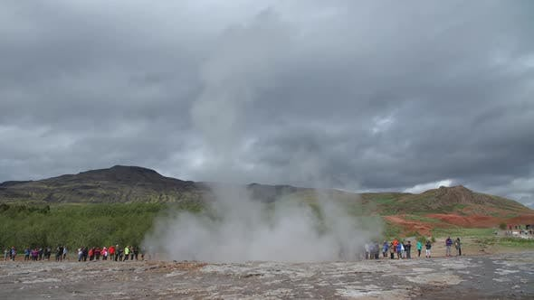 Thumbnail for Geyser Strokkur Eruption And Visitors Golden Circle, Iceland