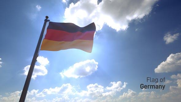 Germany Flag on a Flagpole V4