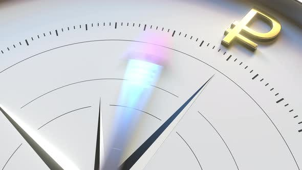 Thumbnail for Compass Arrow Turns Towards RUB Ruble Symbol