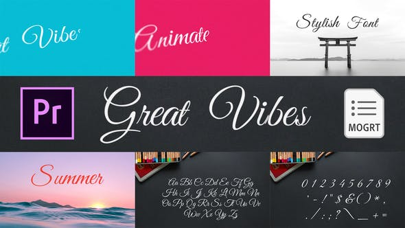 Thumbnail for Great Vibes - Animated Typeface for Premiere Pro