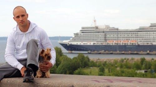 Enjoying Sea View With Dog Friend