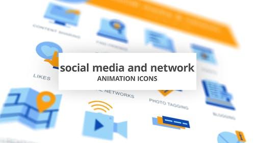 Réseaux sociaux et réseaux - Icones d'animation