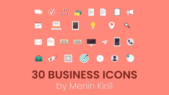 Thumbnail for 30 Animated Business icons