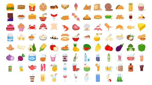Thumbnail for 100 Ícones de alimentos e bebidas