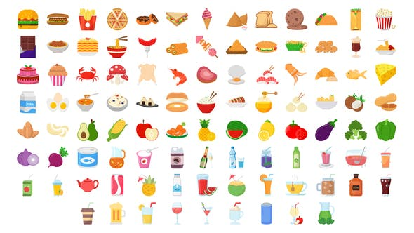 100 Food & Drinks Icons