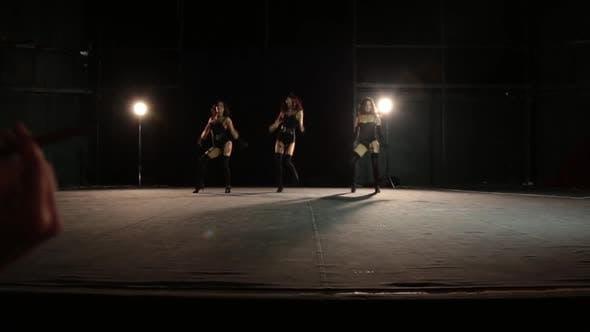 Thumbnail for Burlesque Girls Dance in Front of Two Gentlemen