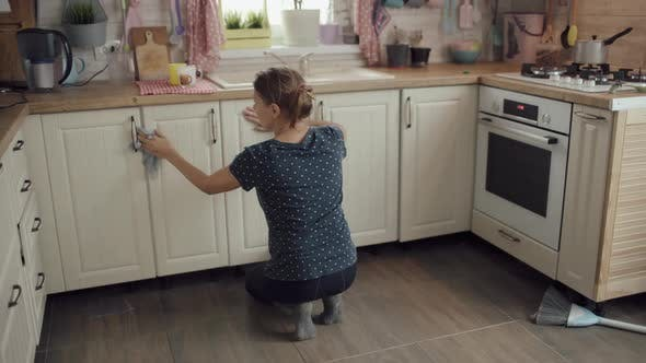 Woman Cleaning Kitchen At Home