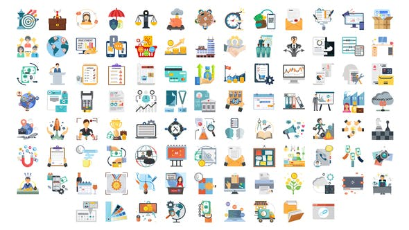 Thumbnail for 100 Business and Startup Icons