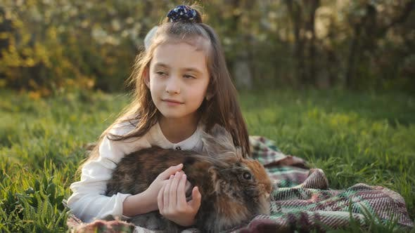 Cover Image for Little Girl Hugging and Stroking a Fluffy Brown Rabbit on Green Grass.