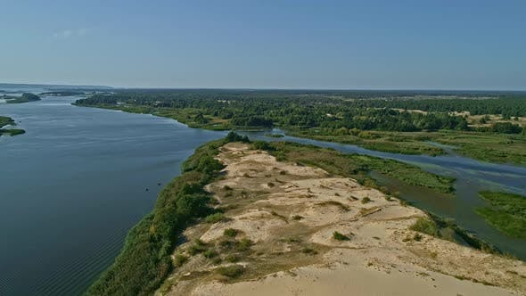Thumbnail for Aerial Drone Footage, Fly Over Sand Island on the River Dnipro