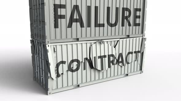 Thumbnail for Container with CONTRACT Text Being Broken By Container with FAILURE Inscription