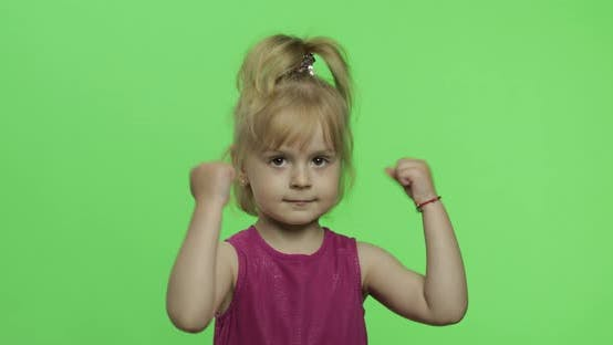 Thumbnail for Girl in Purple Dress Angry and Shows Fists. Four Years Old Child. Chroma Key