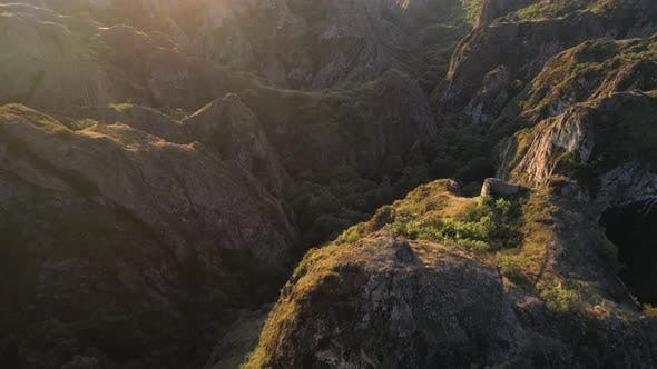 Thumbnail for Flying Over the Sharp Rocks with Ancient Little Fortress in Georgia