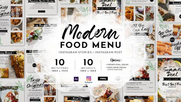 Thumbnail for Modern Food Menu Instagram Stories