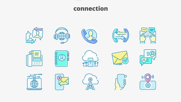 Thumbnail for Connection- Filled Outline Animated Icons