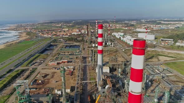 Thumbnail for Aerial Panorama of Oil Refinery
