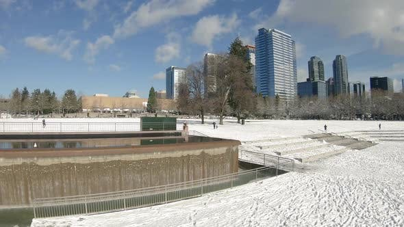 Thumbnail for Rising Winter Aerial Of Bellevue Washington Snowy Park Waterfall