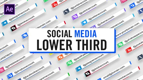 Social Media Lower Third Parallelogram