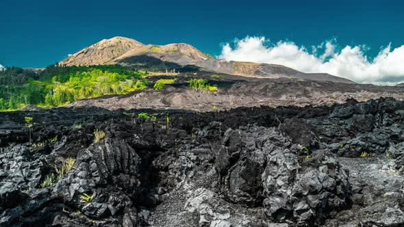 Thumbnail for Dramatic View of the Black Lava at the Volcano Batur in Bali, Indonesia. Timelapse