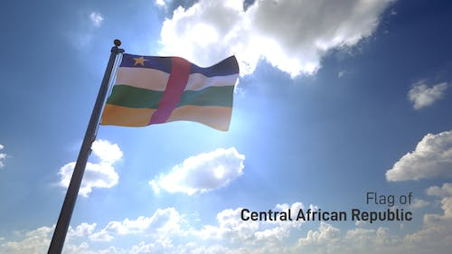 Central African Republic Flag on a Flagpole V4