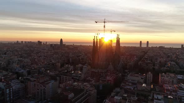 Thumbnail for Aerial View of Barcelona City Street at Sunset
