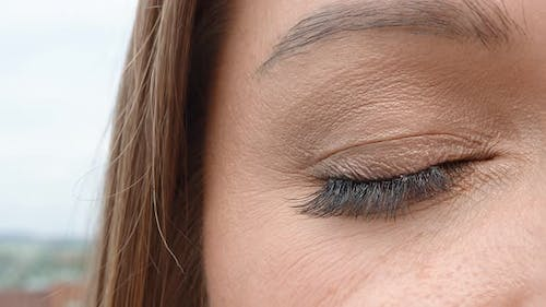 Brown Woman's Eye Close Up. The Woman's Eye Slowly Closes and Opens. Perfect Female Eye.