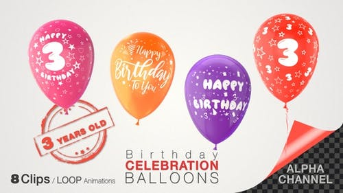 3rd Birthday Celebration Balloons / Three Years Old