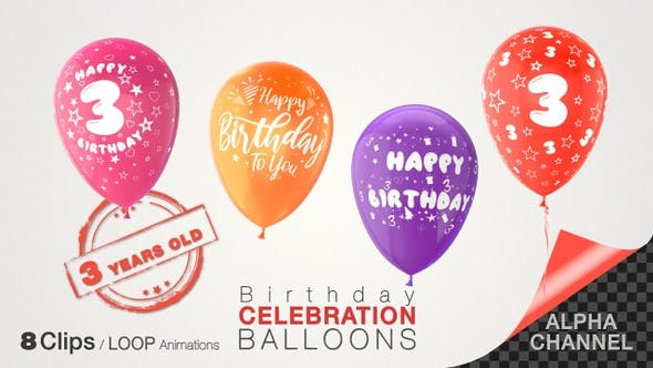 Thumbnail for 3rd Birthday Celebration Balloons / Three Years Old