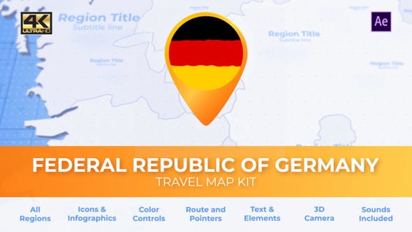 Thumbnail for Germany Map - Deutschland Travel Map - Federal Republic of Germany Map