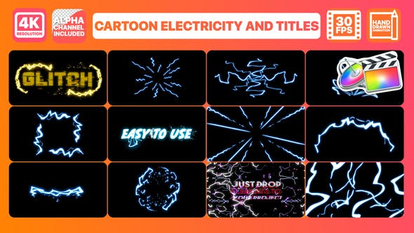 Thumbnail for Cartoon Electricity And Titles | FCPX