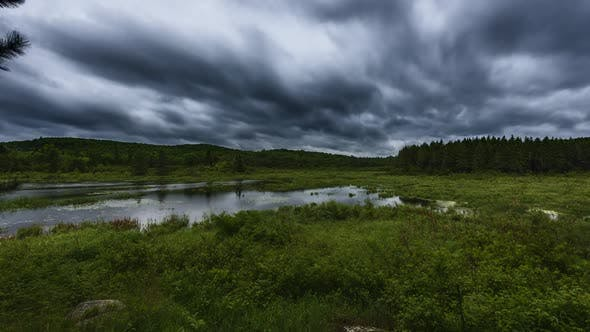 Thumbnail for Dark Moody Storm Over Marshy Lake