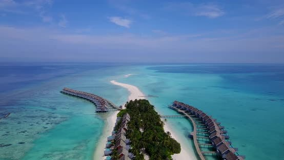 Thumbnail for Tropical drone travel shot of a summer white paradise sand beach and aqua turquoise water background