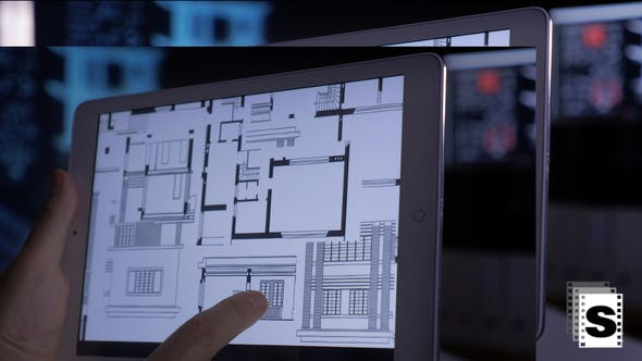 Architect Drawings On Tablet