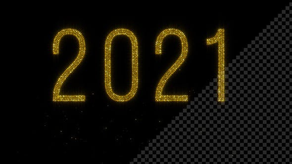 Year 2021 - Shiny Golden Glitter Text with Transparency - HD