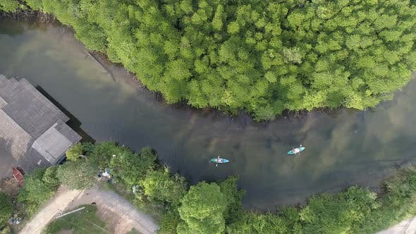 Thumbnail for Over River with Two Kayaks