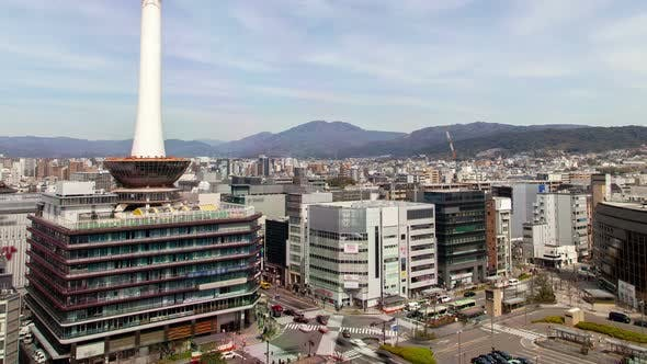Thumbnail for Kyoto Square with TV Tower Against City Timelapse
