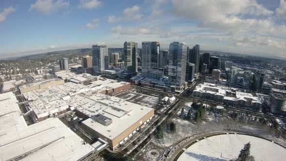 Thumbnail for Winter Snow Aerial Of Bellevue Washington Mall Park And Buildings