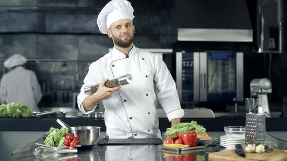 Thumbnail for Chef Posing at Kitchen Restaurant