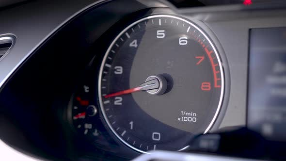 Thumbnail for The Tachometer Shows the Engine Speed, During the Dynamic Control of the Machine, the Speed Jumps.