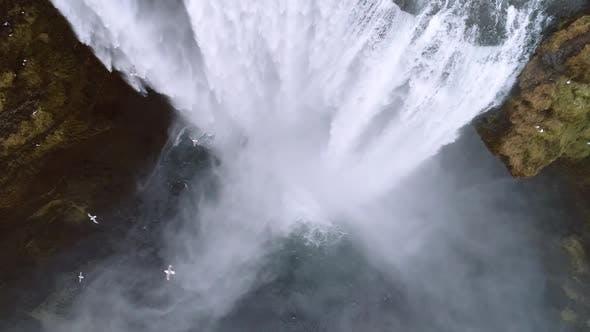 Thumbnail for Aerial flight over Skogar waterfall, Iceland