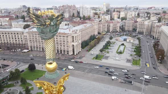 Kyiv, Ukraine in Autumn : Independence Square, Maidan. Aerial View