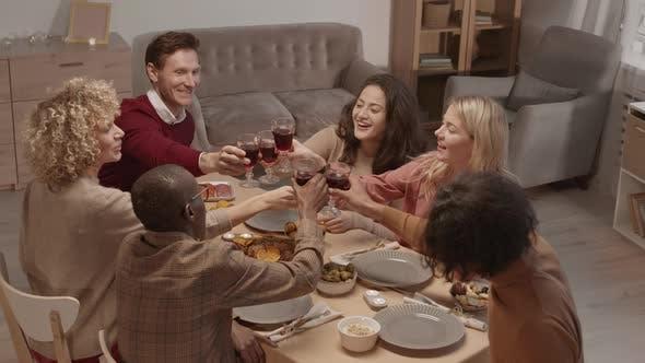 Thumbnail for Multiethnic People Praying before Starting Eating