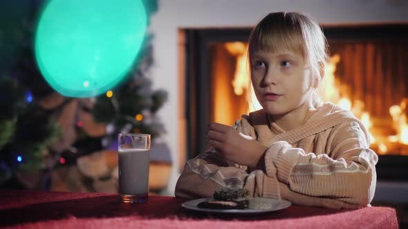 Thumbnail for Girl Eats Cookies with Milk on the Background of the Fireplace and Christmas Tree