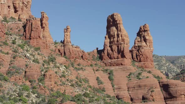 Thumbnail for Pan right view of sandstone formations