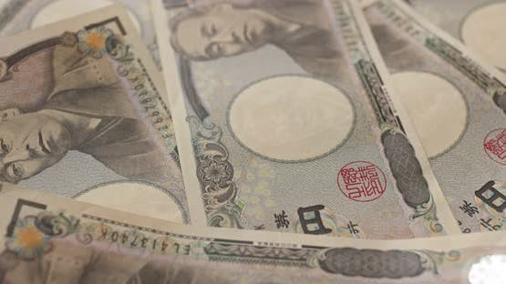 Japanese yen banknote in rotation